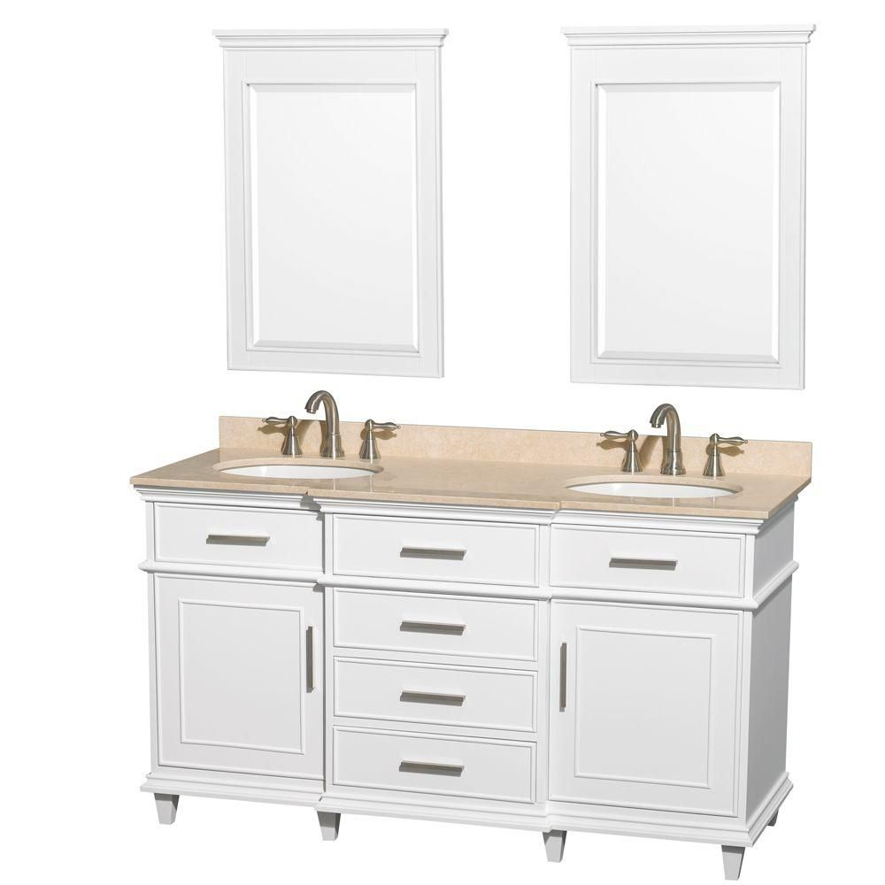 Berkeley 60-inch W Double Vanity in White with Marble Top, Oval Sinks and 24-inch Mirror