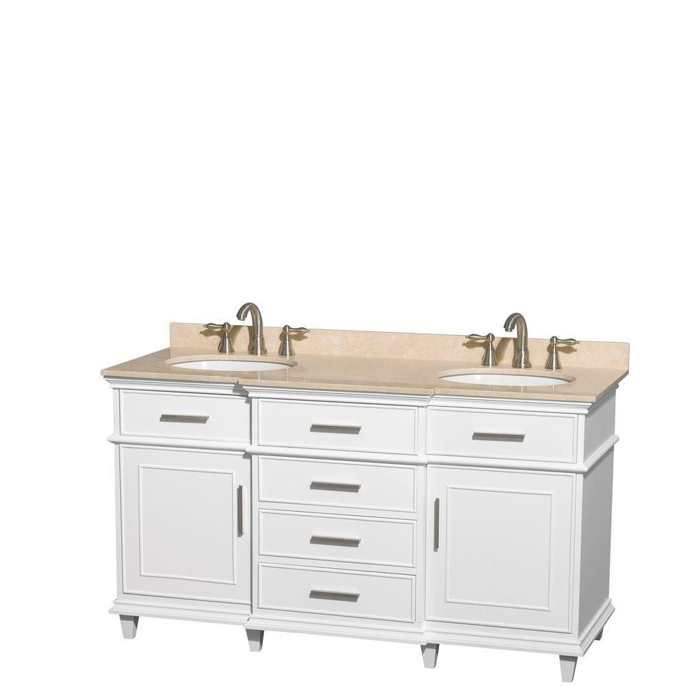 Berkeley 60-inch W Double Vanity in White with Marble Top in Ivory and Oval Sinks