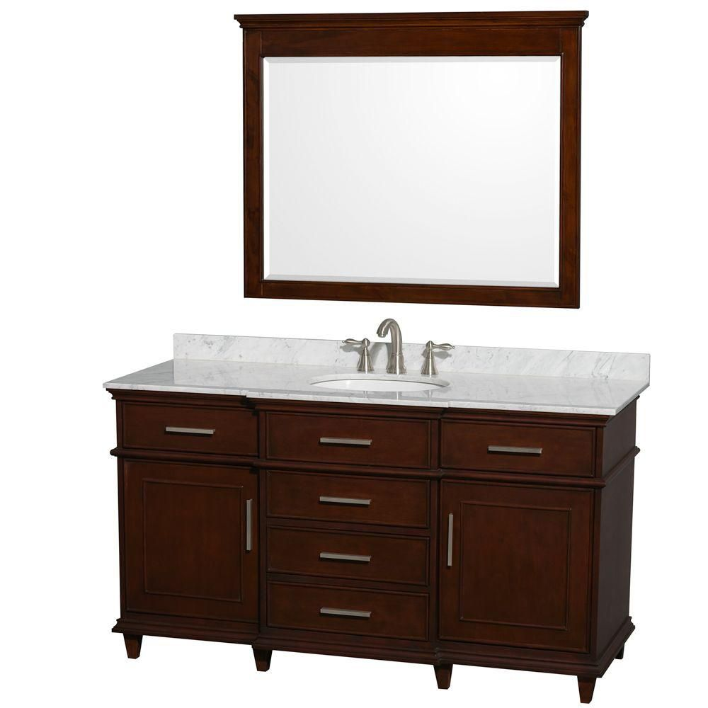 Berkeley 60-inch W Double Vanity in Dark Chestnut with Marble Top, Oval Sinks and Mirror