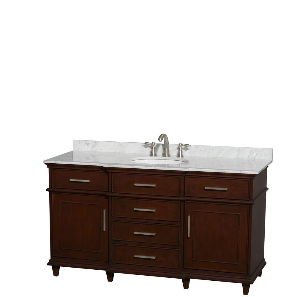 Wyndham Collection Berkeley 60-inch W 5-Drawer 2-Door Freestanding Vanity in Brown With Marble Top in White