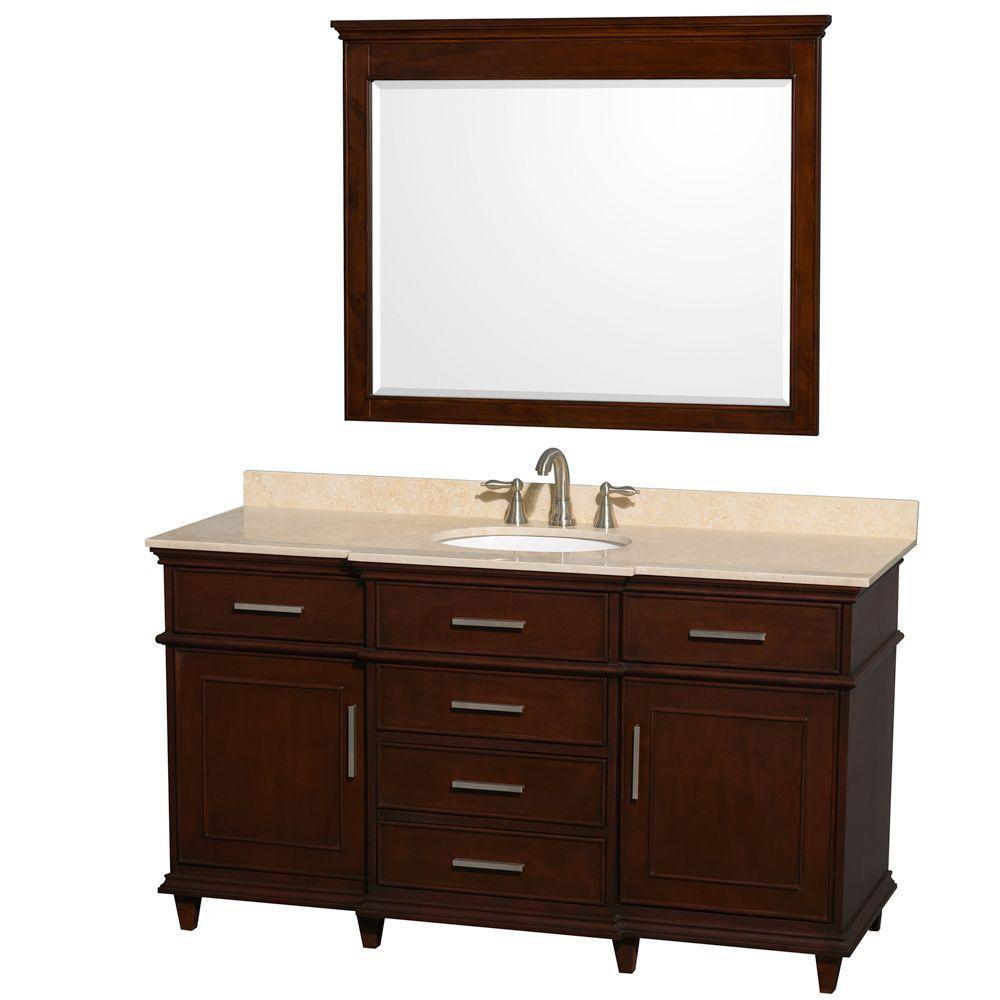 Wyndham Collection Berkeley 60-inch W 5-Drawer 2-Door Vanity in Brown With Marble Top in Beige Tan With Mirror