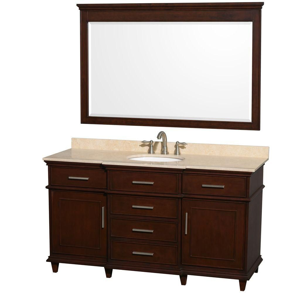 Berkeley 60-inch W Vanity in Dark Chestnut with Marble Top, Oval Sinks and 56-inch Mirror