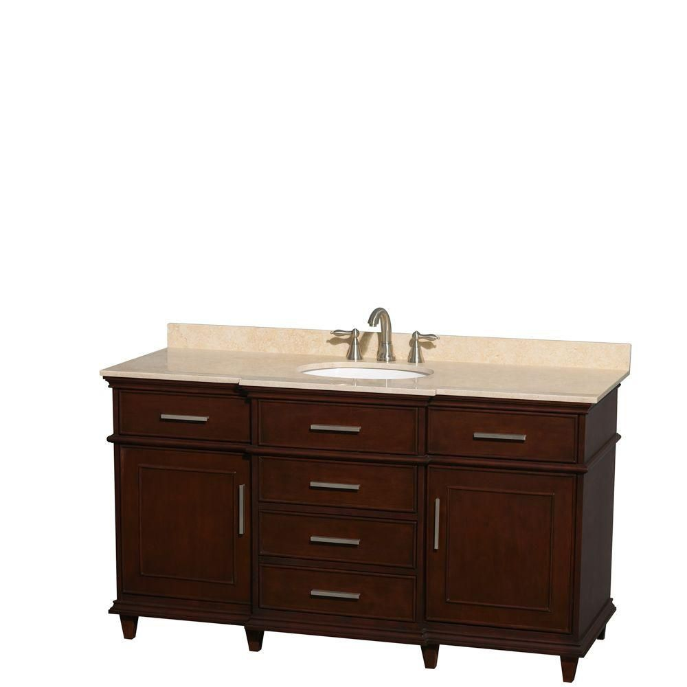 Berkeley 60-inch W Vanity in Dark Chestnut with Marble Top in Ivory and Oval Sinks