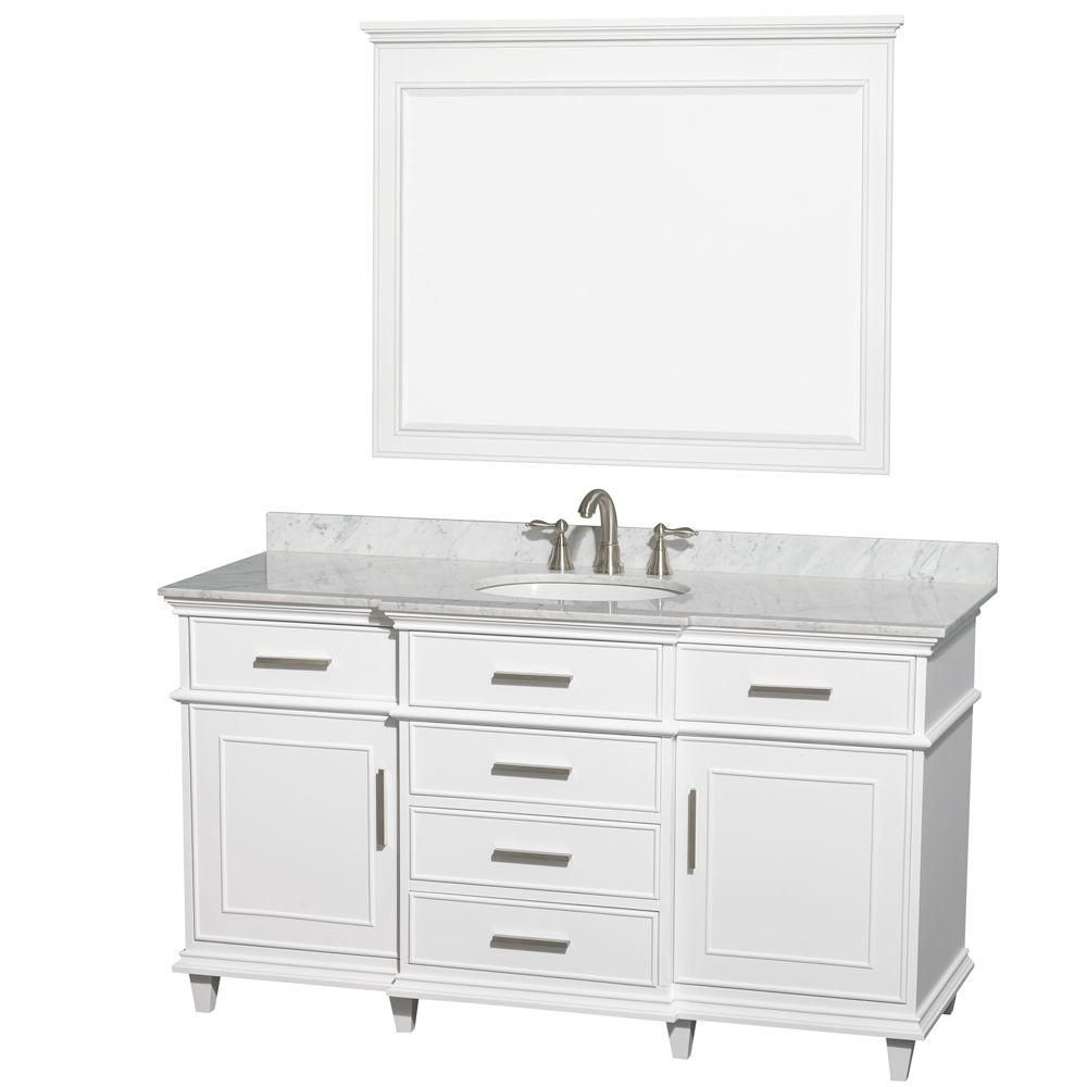 Berkeley 60-inch W Vanity White with Marble Top in Carrara White, Oval Sinks and 44-inch Mirror