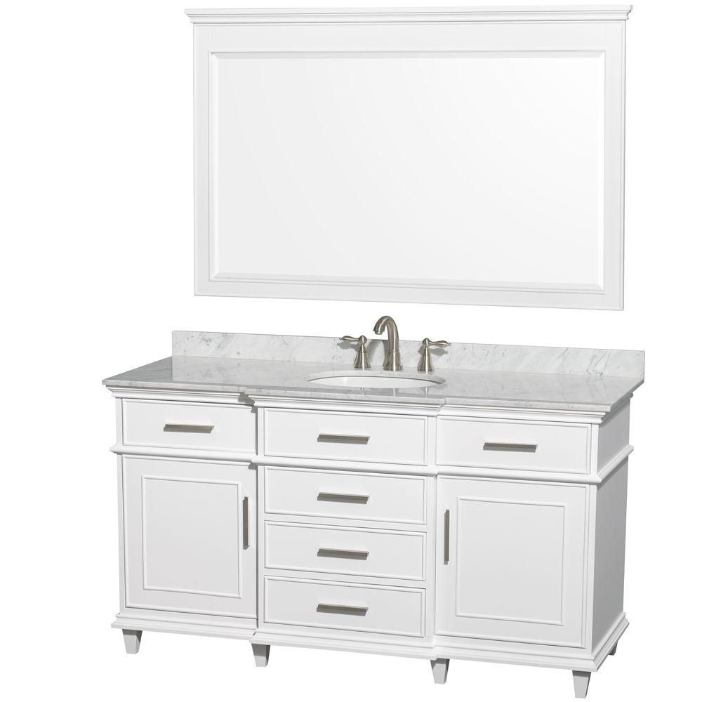 Berkeley 60-inch W Vanity White with Marble Top in Carrara White, Oval Sinks and 56-inch Mirror