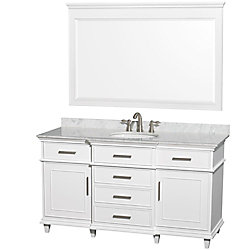 Wyndham Collection Berkeley 60-inch W 5-Drawer 2-Door Freestanding Vanity in White With Marble Top in White With Mirror