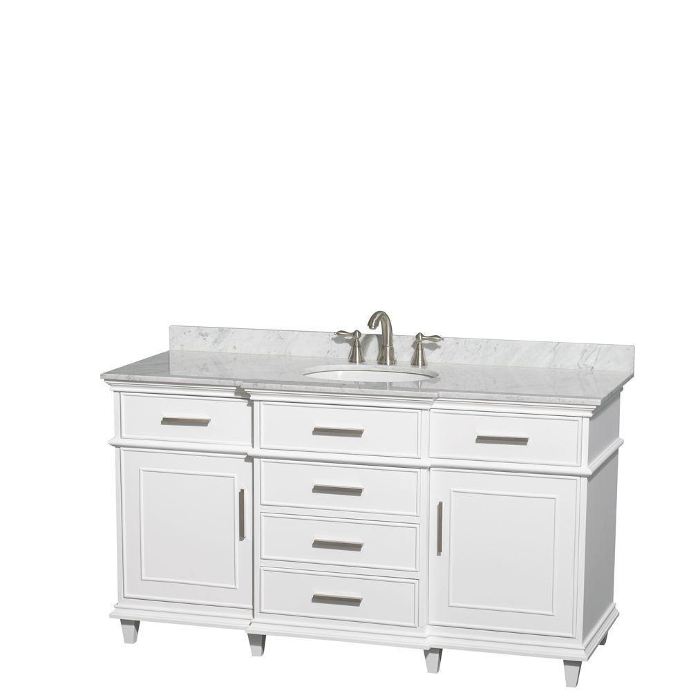 Berkeley 60 po Meuble blanc avec revêtement en marbre blanc Carrare et éviers ovales
