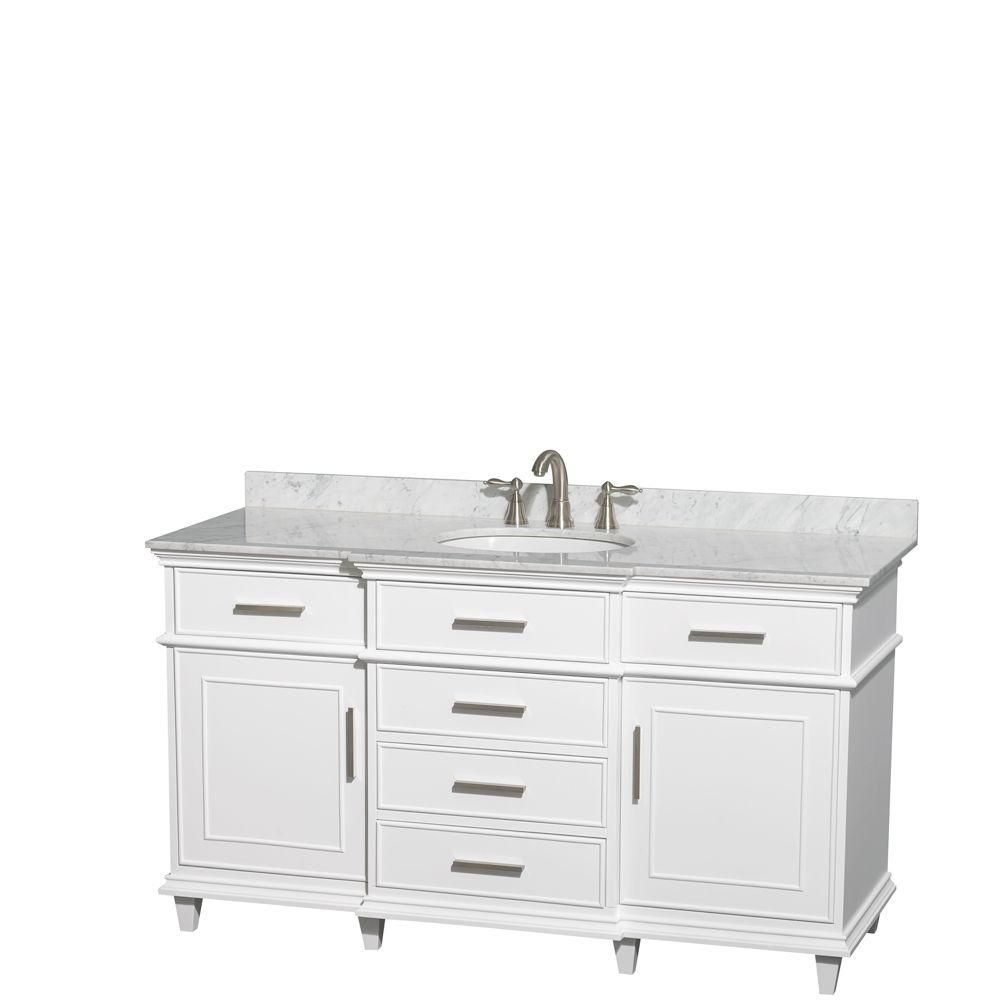 Berkeley 60-inch W Vanity in White with Marble Top in Carrara White and Oval Sinks