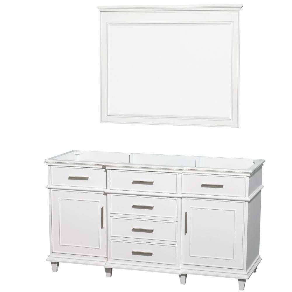 Wyndham Collection Berkeley 60-Inch  Vanity Cabinet with Mirror in White
