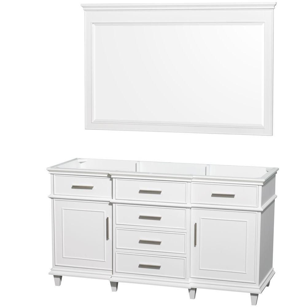 Berkeley 60-Inch  Vanity Cabinet with Mirror in White