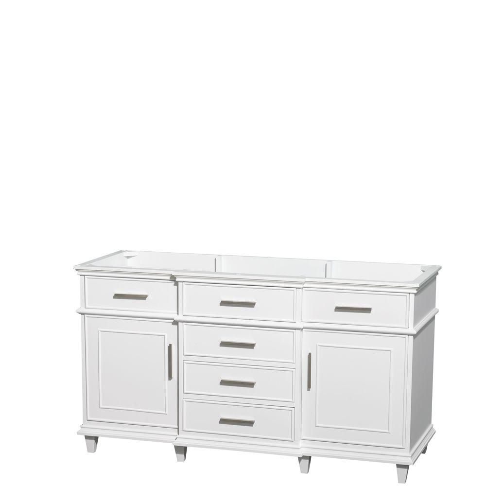 Wyndham Collection Berkeley 60-Inch  Vanity Cabinet in White