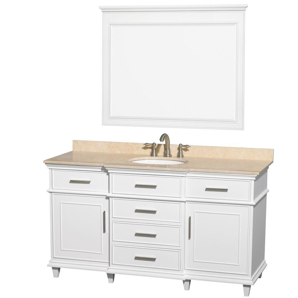 Berkeley 60-inch W Vanity in White with Marble Top in Ivory, Oval Sinks and 44-inch Mirror