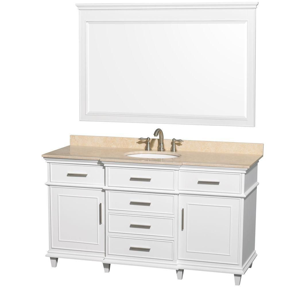 Berkeley 60-inch W Vanity in White with Marble Top in Ivory, Oval Sinks and 56-inch Mirror