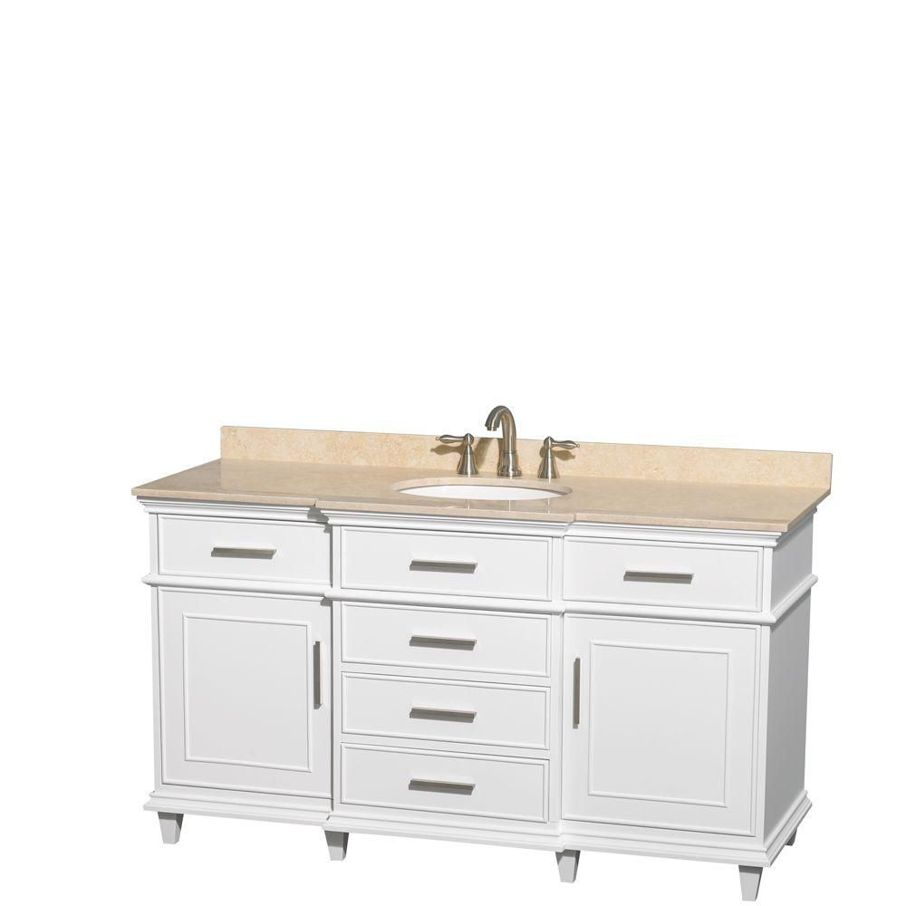 Berkeley 60-inch W Vanity in White Finish with Marble Top in Ivory and Oval Sinks