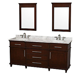 Wyndham Collection Berkeley 72-inch W 4-Drawer 2-Door Vanity in Brown With Marble Top in White, 2 Basins With Mirror