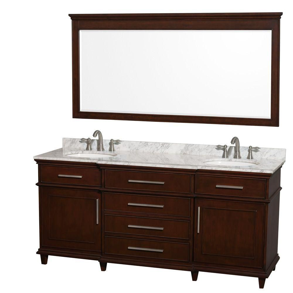Berkeley 72-inch W Vanity in Dark Chestnut with Marble Top in Carrara White, Oval Sinks and Mirro...