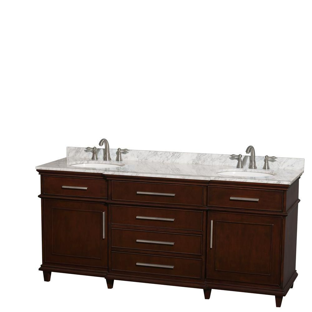 Wyndham Collection Berkeley 72-inch W 4-Drawer 2-Door Vanity in Brown With Marble Top in White, Double Basins