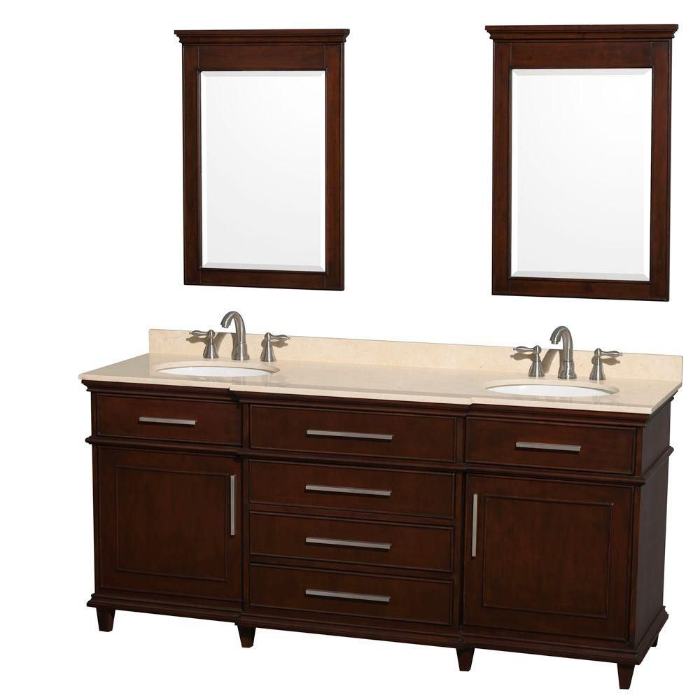Berkeley 72-inch W Double Vanity in Dark Chestnut with Marble Top in Ivory, Oval Sinks and Mirror...