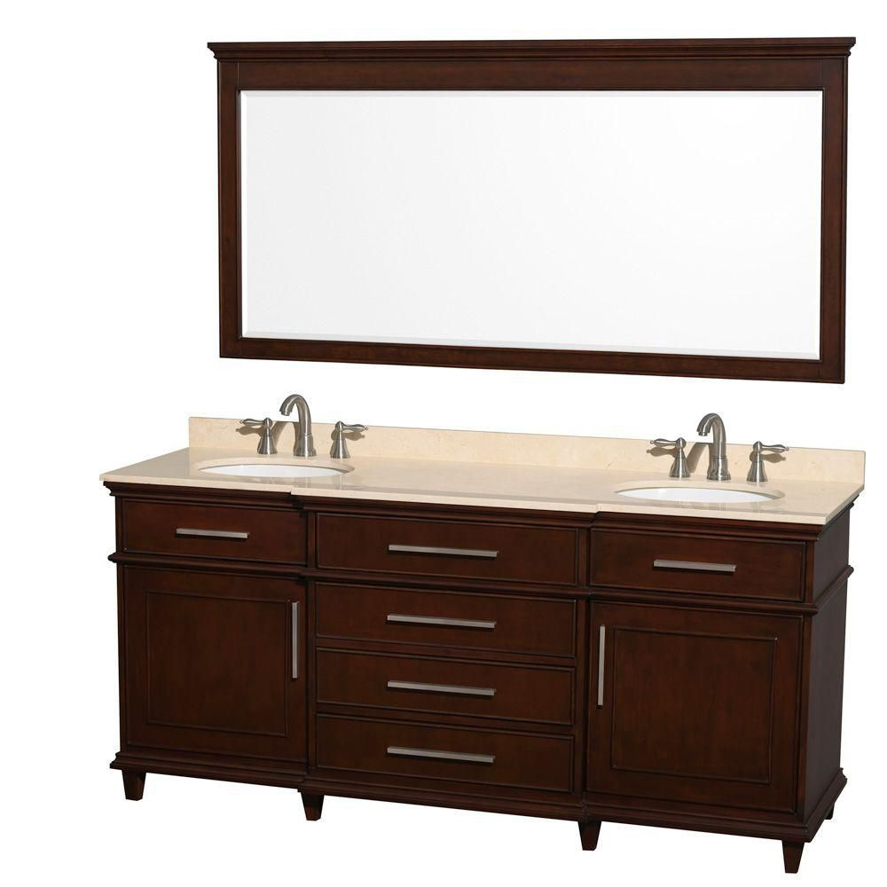 Berkeley 72-inch W Double Vanity Dark Chestnut with Marble Top in Ivory, Oval Sinks and 70-inch M...