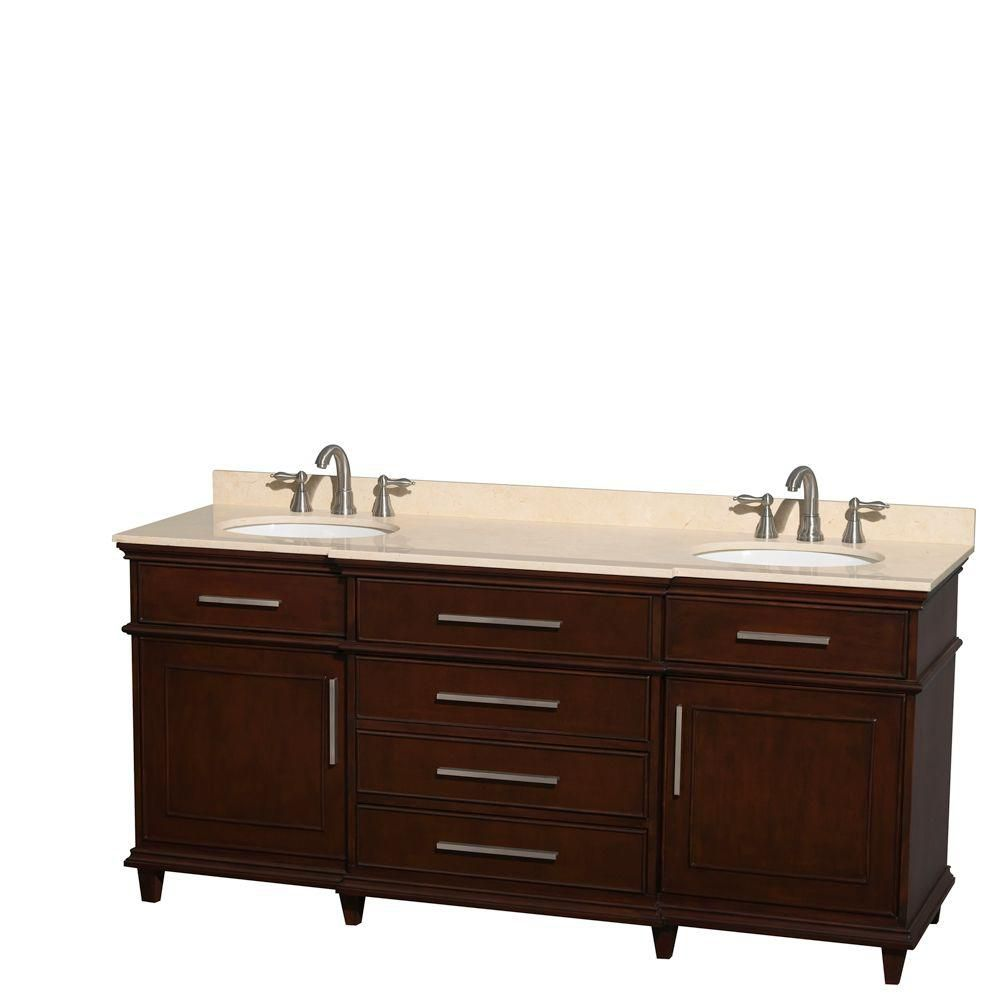 Berkeley 72-inch W Double Vanity in Dark Chestnut with Marble Top in Ivory and Oval Sinks