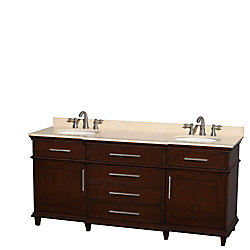 Wyndham Collection Berkeley 72-inch W 4-Drawer 2-Door Vanity in Brown With Marble Top in Beige Tan, Double Basins