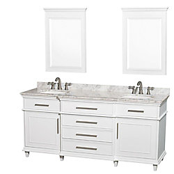Wyndham Collection Berkeley 72-inch W 4-Drawer 2-Door Vanity in White With Marble Top in White, 2 Basins With Mirror