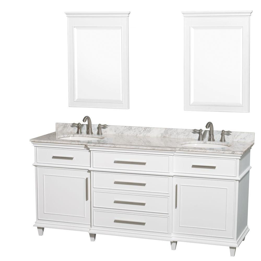 Berkeley 72-inch W Vanity in White with Marble Top in Carrara White, Oval Sinks and Mirrors