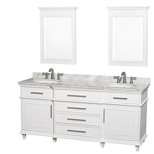Wyndham Collection Berkeley 72 po Meuble blanc dbl. et revêtement en marbre blanc Carrare, éviers ovales et miroirs