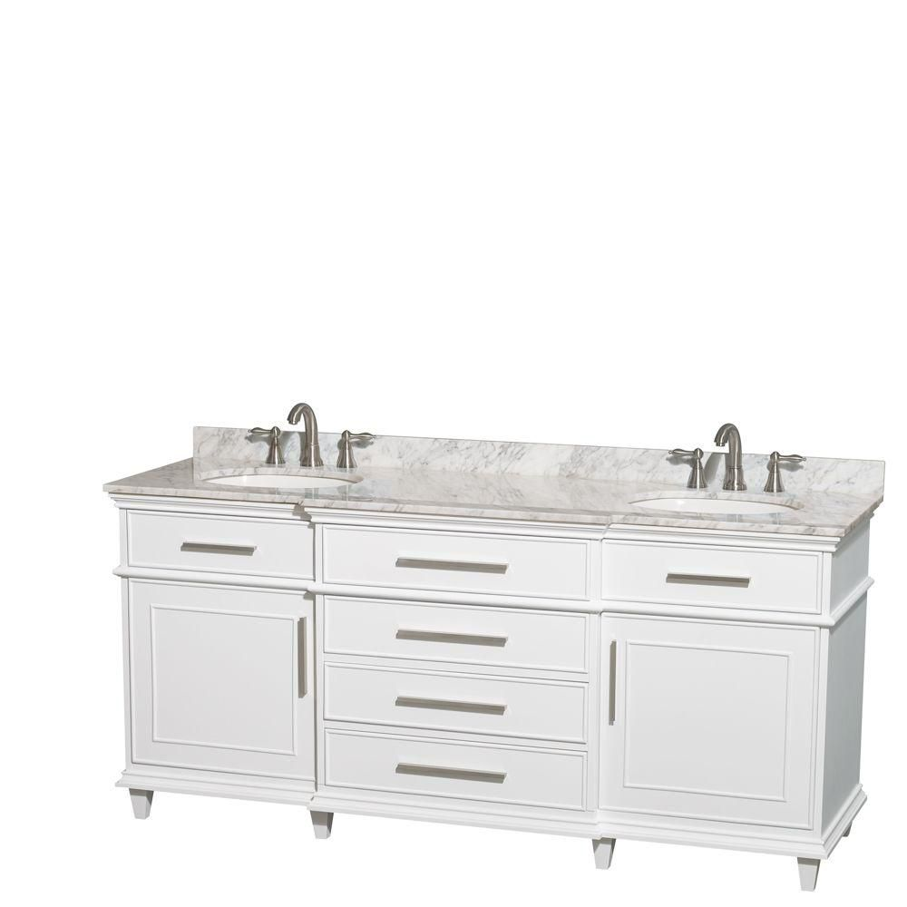Berkeley 72-inch W Double Vanity in White with Marble Top in Carrara White and Oval Sinks