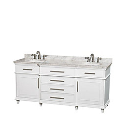 Berkeley 72-inch W 4-Drawer 2-Door Vanity in White With Marble Top in White, Double Basins