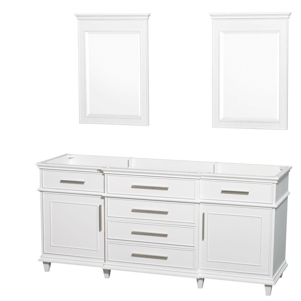 Wyndham Collection Berkeley 72-Inch  Vanity Cabinet with Mirror in White