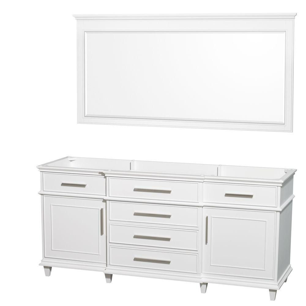 Wyndham Collection Berkeley 71-Inch  Vanity Cabinet with Mirror in White