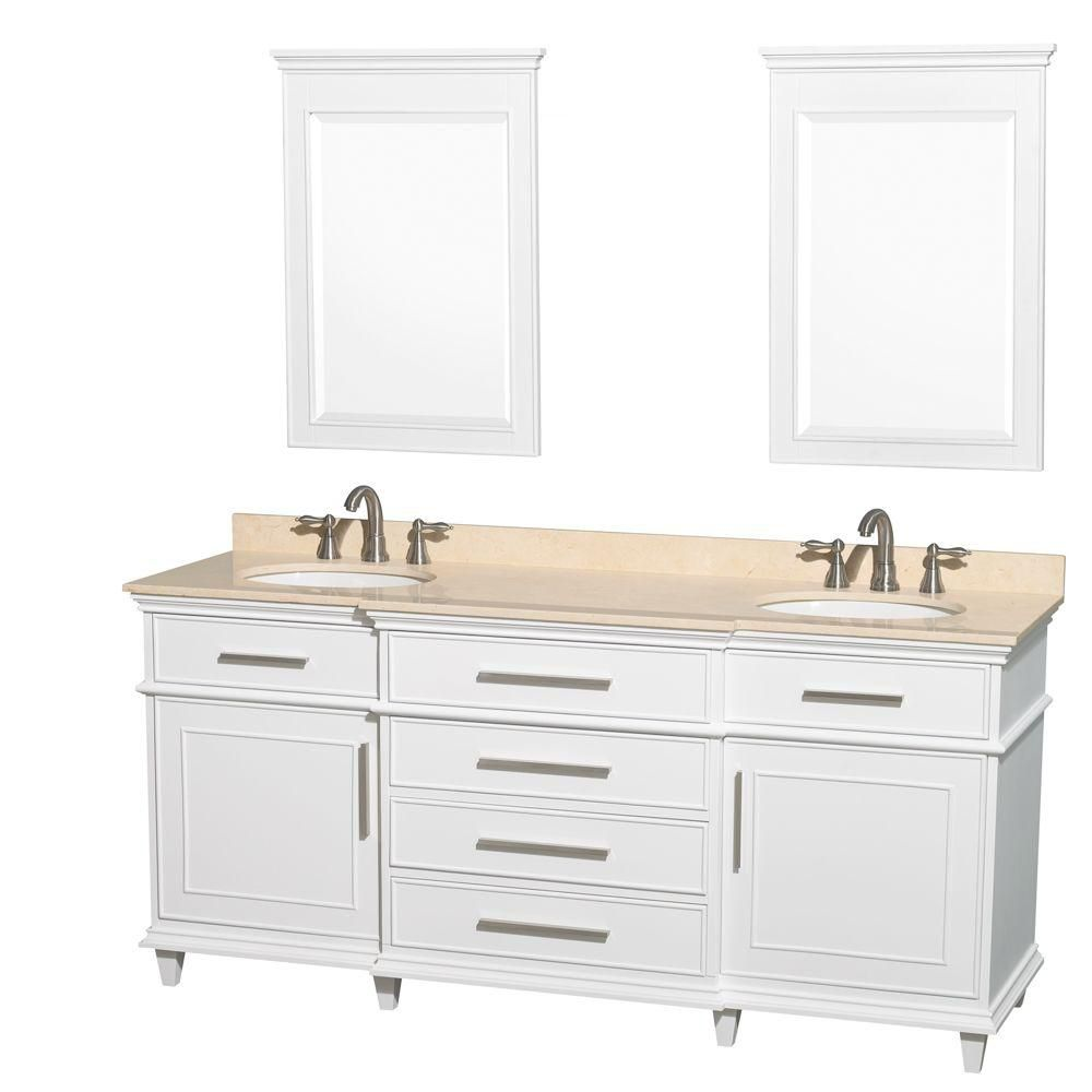Berkeley 72-inch W Double Vanity White with Marble Top in Ivory, Oval Sinks and 24-inch Mirrors