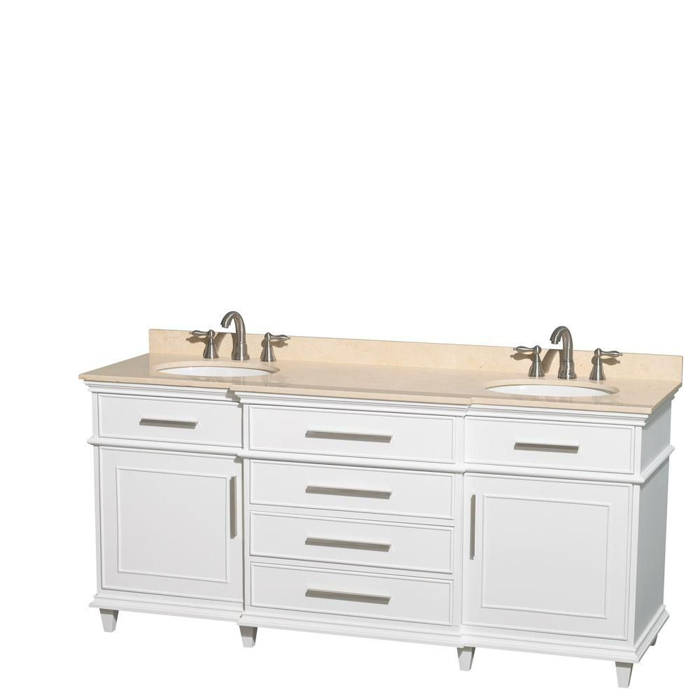 Berkeley 72-inch W Double Vanity in White with Marble Top in Ivory and Oval Sinks
