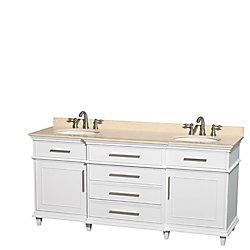 Wyndham Collection Berkeley 72-inch W 4-Drawer 2-Door Vanity in White With Marble Top in Beige Tan, Double Basins