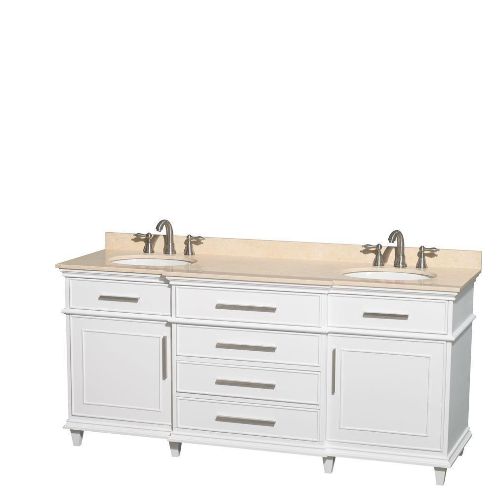 Berkeley 72-inch W 4-Drawer 2-Door Vanity in White With Marble Top in Beige Tan, Double Basins