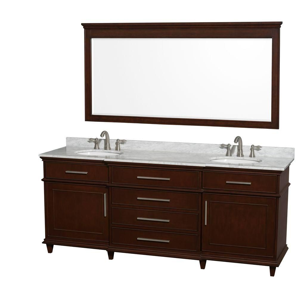 Berkeley 80-inch W Vanity in Dark Chestnut with Marble Top in Carrara White, Oval Sinks and Mirro...