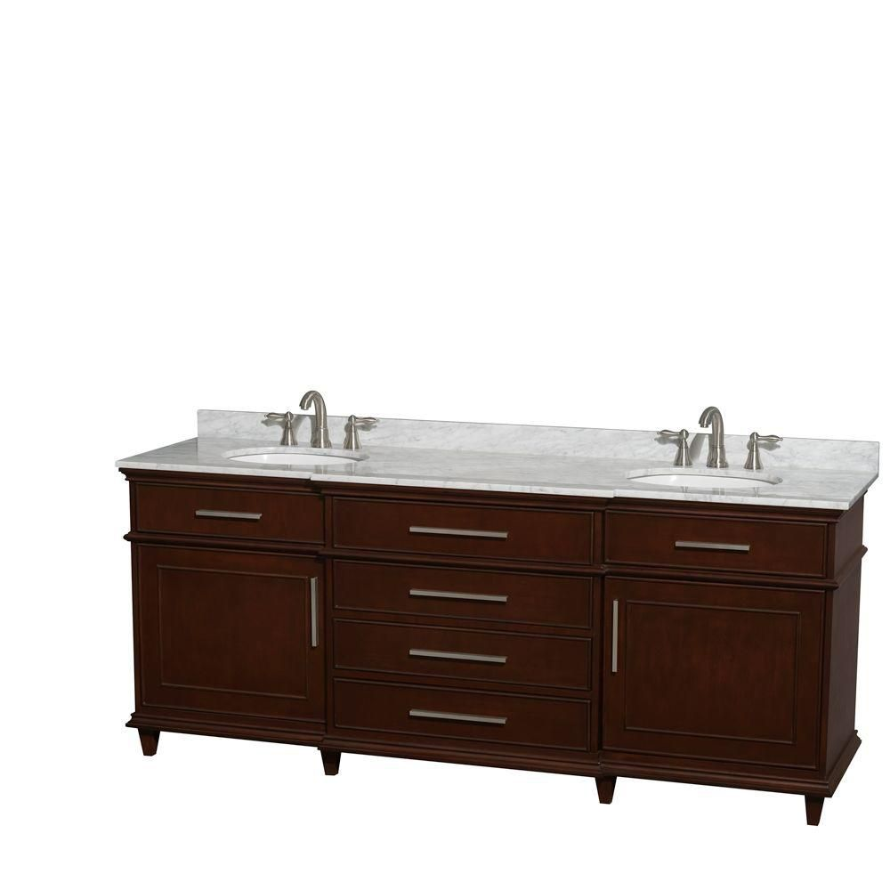 Berkeley 80-inch W Double Vanity Dark Chestnut with Marble Top in Carrara White and Oval Sinks