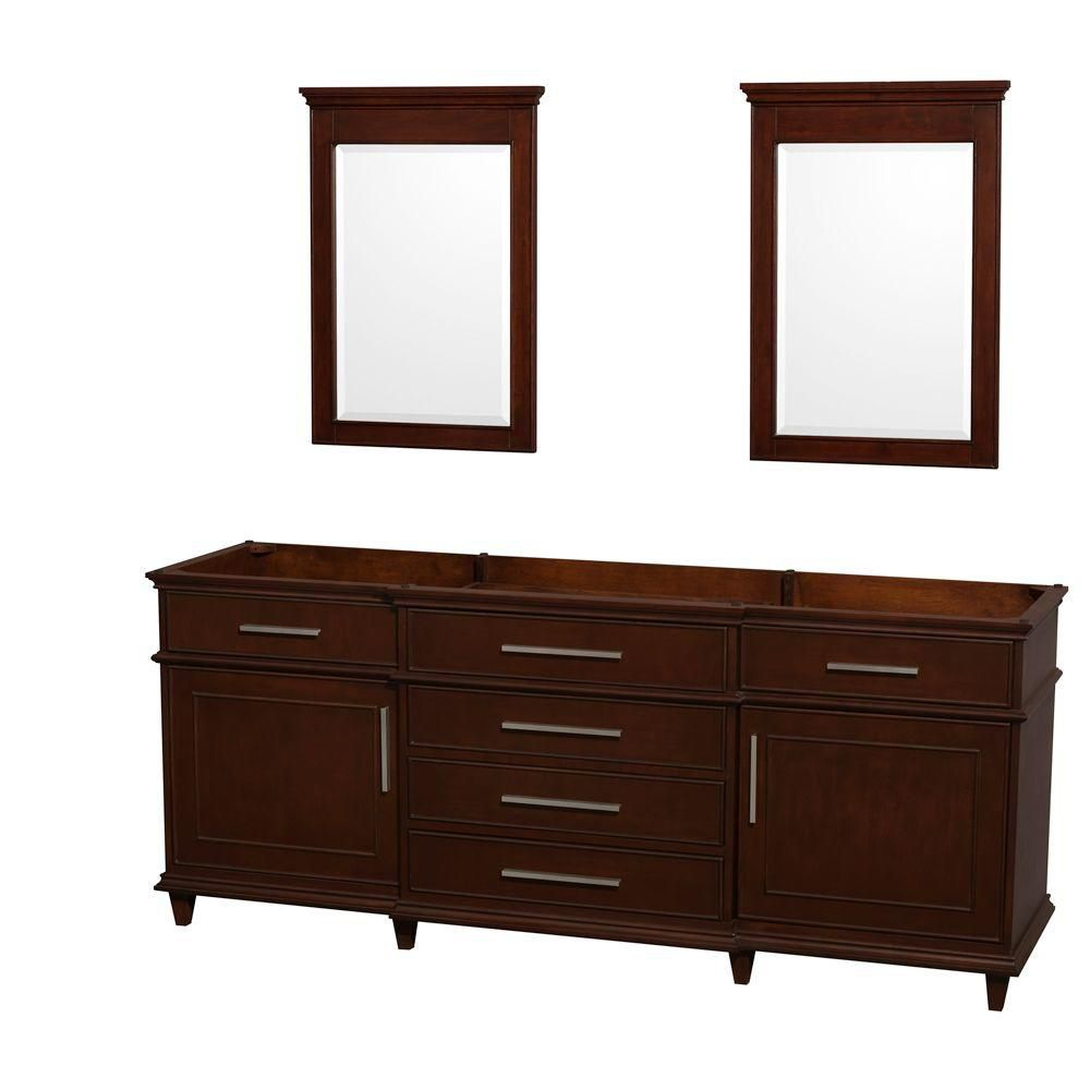 Berkeley 80-Inch  Vanity Cabinet with Mirror in Dark Chestnut