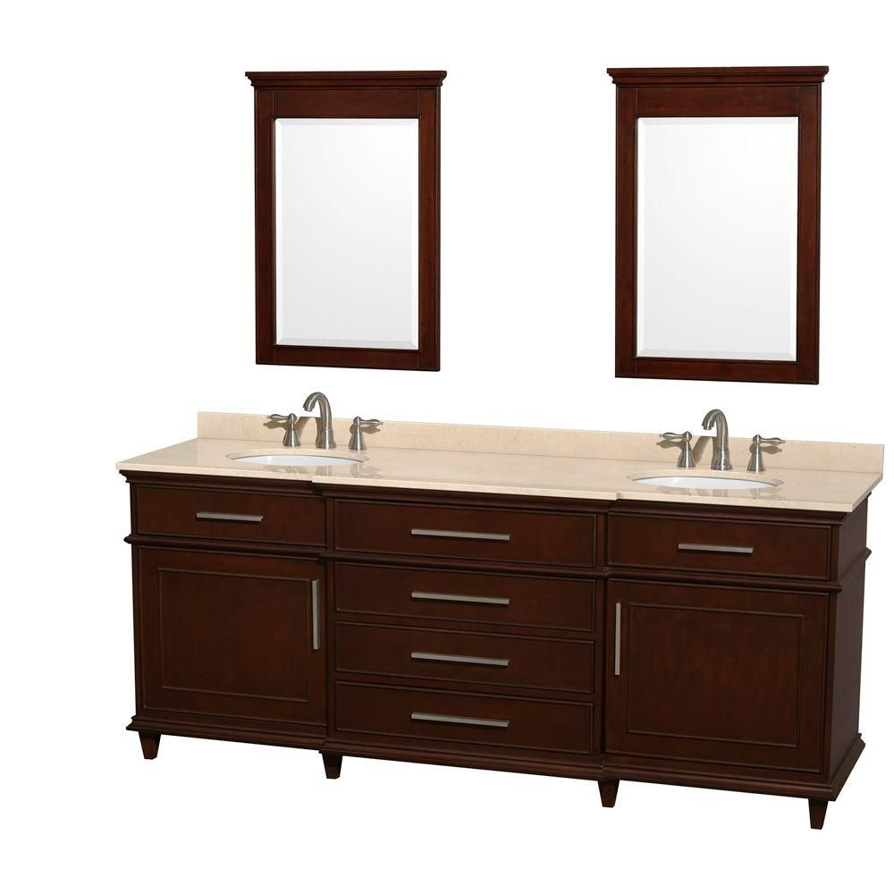Berkeley 80-inch W Double Vanity in Dark Chestnut with Marble Top in Ivory, Oval Sinks and Mirror...