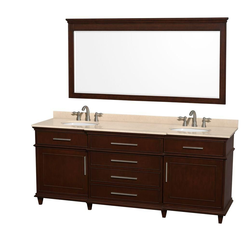 Berkeley 80-inch W Double Vanity in Dark Chestnut with Marble Top, Oval Sinks and 70-inch Mirror