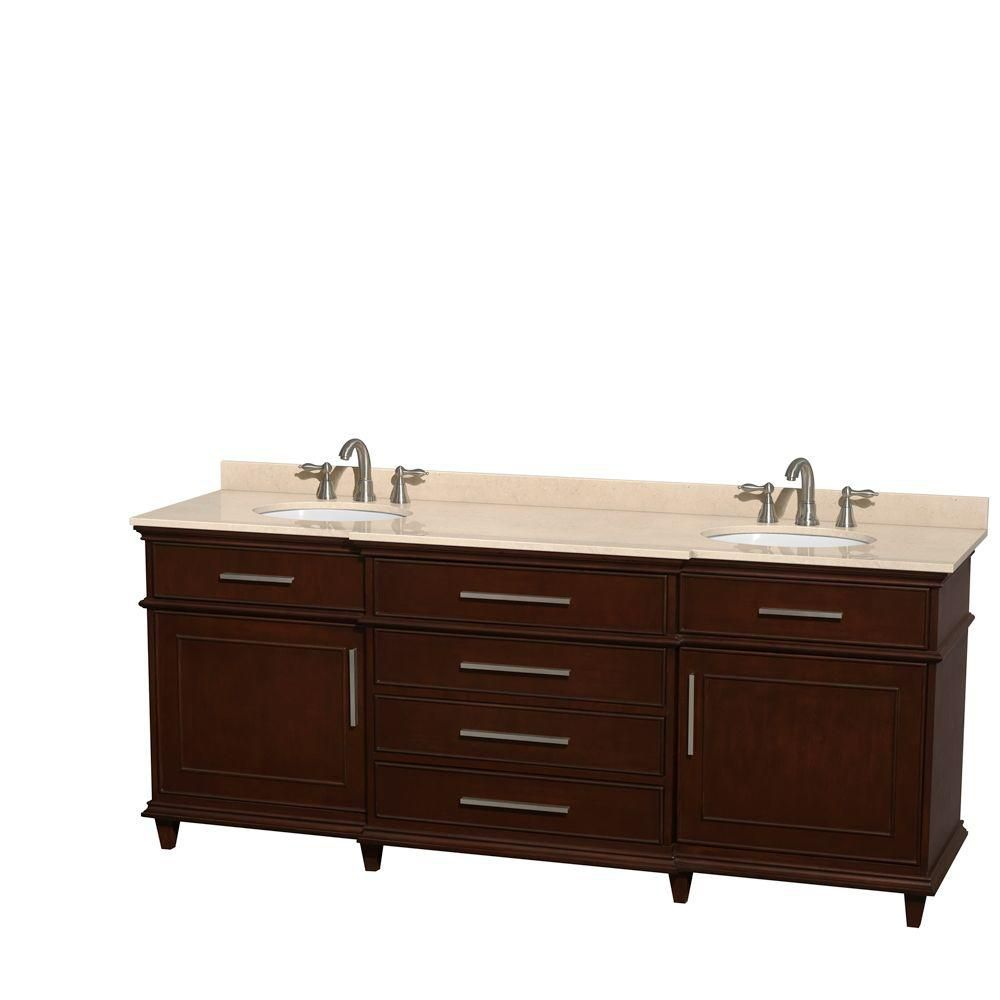 Berkeley 80-inch W Double Vanity in Dark Chestnut with Marble Top in Ivory and Oval Sinks