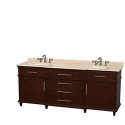 Wyndham Collection Berkeley 80-inch W 4-Drawer 2-Door Vanity in Brown With Marble Top in Beige Tan, Double Basins