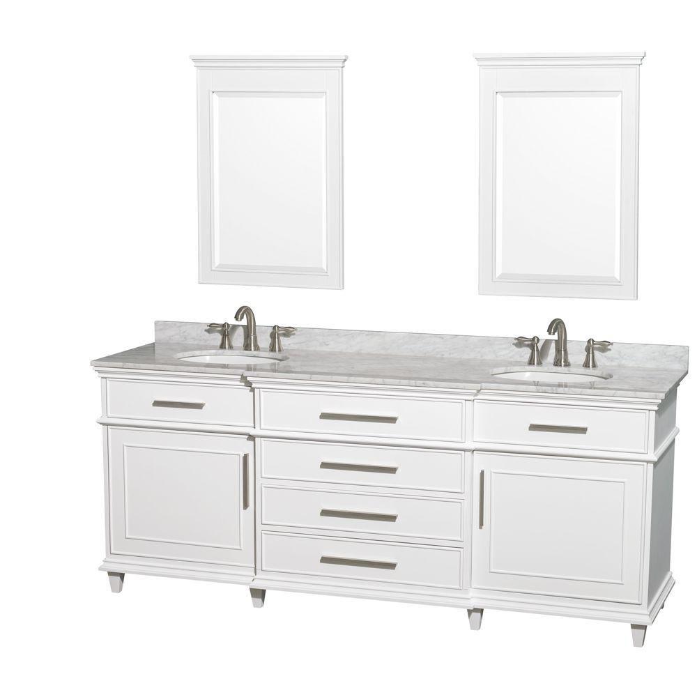 Berkeley 80 po Meuble blanc dbl. et revêtement en marbre blanc Carrare, éviers ovales et miroirs