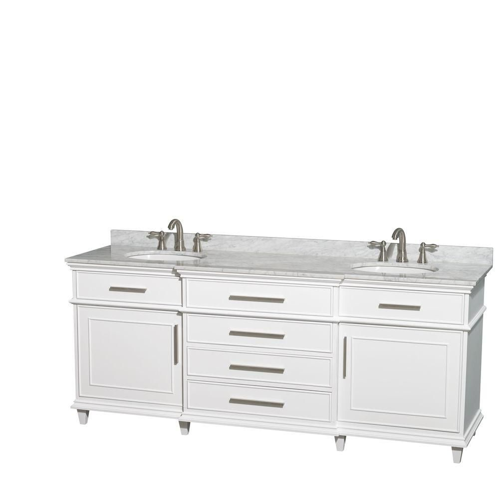 Berkeley 80-inch W Double Vanity in White with Marble Top in Carrara White and Oval Sinks