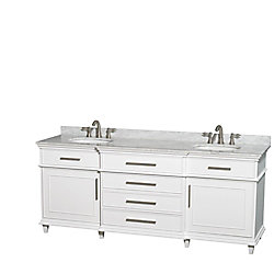Wyndham Collection Berkeley 80-inch W 4-Drawer 2-Door Vanity in White With Marble Top in White, Double Basins