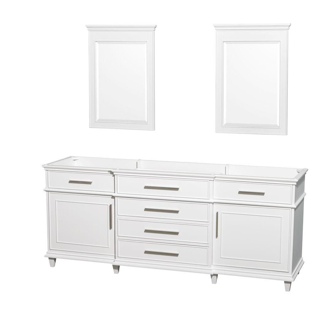 Berkeley 80-Inch  Vanity Cabinet with Mirror in White