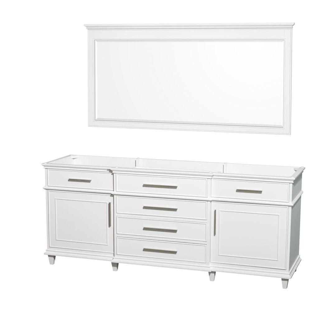 Wyndham Collection Berkeley 79-Inch  Vanity Cabinet with Mirror in White