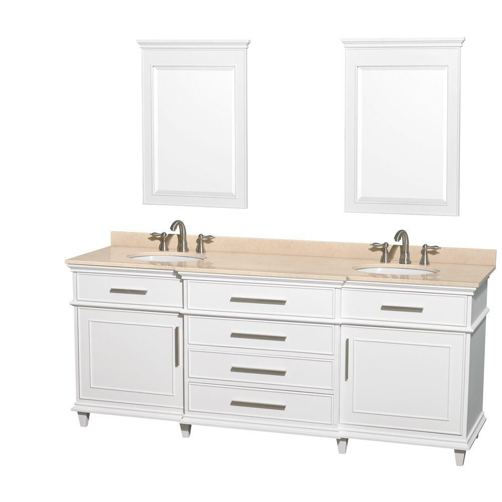 Wyndham Collection Berkeley 80-inch W 4-Drawer 2-Door Vanity in White With Marble Top in Beige Tan, Double Basins