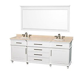 Wyndham Collection Berkeley 80-inch W 4-Drawer 2-Door Vanity in White With Marble Top in Beige Tan, Double Basins
